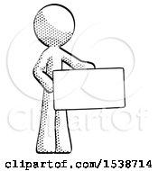 Halftone Design Mascot Man Presenting Large Envelope