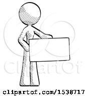 Halftone Design Mascot Woman Presenting Large Envelope
