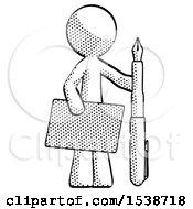 Halftone Design Mascot Man Holding Large Envelope And Calligraphy Pen