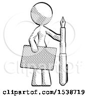 Halftone Design Mascot Woman Holding Large Envelope And Calligraphy Pen