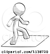 Halftone Design Mascot Man On Postage Envelope Surfing