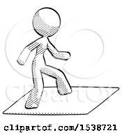 Halftone Design Mascot Woman On Postage Envelope Surfing