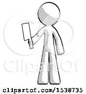 Halftone Design Mascot Man Holding Meat Cleaver