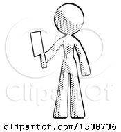 Halftone Design Mascot Woman Holding Meat Cleaver
