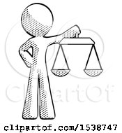 Halftone Design Mascot Man Holding Scales Of Justice