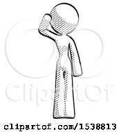 Halftone Design Mascot Woman Soldier Salute Pose