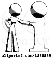Ink Design Mascot Woman With Info Symbol Leaning Up Against It