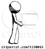 Ink Design Mascot Man Show Tablet Device Computer To Viewer Blank Area