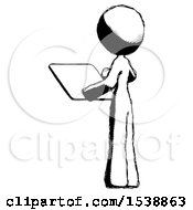 Ink Design Mascot Woman Looking At Tablet Device Computer With Back To Viewer