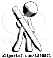 Ink Design Mascot Man Writing With Large Pencil