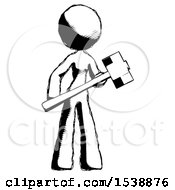 Ink Design Mascot Woman With Sledgehammer Standing Ready To Work Or Defend