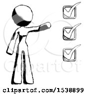 Ink Design Mascot Woman Standing By A Checkmark List Arm Extended