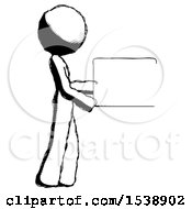 Ink Design Mascot Woman Show Tablet Device Computer To Viewer Blank Area