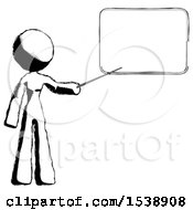Ink Design Mascot Woman Pointing At Dry Erase Board With Stick Giving Presentation