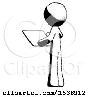 Ink Design Mascot Man Looking At Tablet Device Computer With Back To Viewer