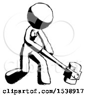 Ink Design Mascot Woman Hitting With Sledgehammer Or Smashing Something At Angle