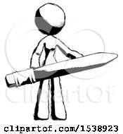 Ink Design Mascot Woman Office Worker Or Writer Holding A Giant Pencil