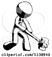 Ink Design Mascot Man Hitting With Sledgehammer Or Smashing Something At Angle