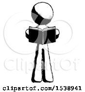Ink Design Mascot Man Reading Book While Standing Up Facing Viewer