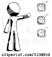 Ink Design Mascot Man Standing By List Of Checkmarks