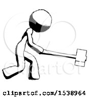 Ink Design Mascot Woman Hitting With Sledgehammer Or Smashing Something