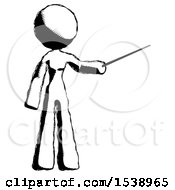 Ink Design Mascot Woman Teacher Or Conductor With Stick Or Baton Directing