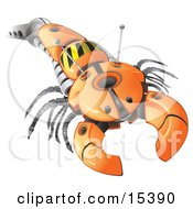 Arm Of An Orange Robot, Resembling An Insect With A Pincher