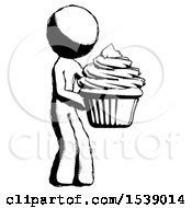 Ink Design Mascot Man Holding Large Cupcake Ready To Eat Or Serve
