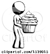 Ink Design Mascot Woman Holding Large Cupcake Ready To Eat Or Serve