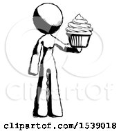 Ink Design Mascot Woman Presenting Pink Cupcake To Viewer