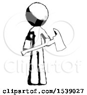 Ink Design Mascot Man Holding Red Fire Fighters Ax