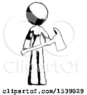 Ink Design Mascot Woman Holding Red Fire Fighters Ax