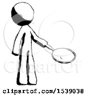 Ink Design Mascot Man Frying Egg In Pan Or Wok Facing Right
