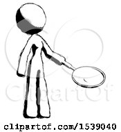 Ink Design Mascot Woman Frying Egg In Pan Or Wok Facing Right