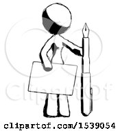 Ink Design Mascot Woman Holding Large Envelope And Calligraphy Pen