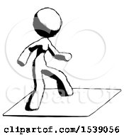 Ink Design Mascot Woman On Postage Envelope Surfing