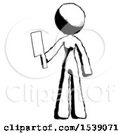 Ink Design Mascot Woman Holding Meat Cleaver