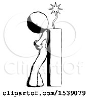Ink Design Mascot Woman Leaning Against Dynimate Large Stick Ready To Blow