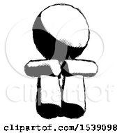 Ink Design Mascot Man Sitting With Head Down Facing Forward