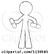 Sketch Design Mascot Man Red Pill Or Blue Pill Concept