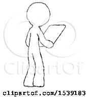 Sketch Design Mascot Man Looking At Tablet Device Computer Facing Away