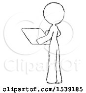 Sketch Design Mascot Woman Looking At Tablet Device Computer With Back To Viewer