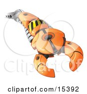 Orange Cyberspace Bot Reaching Outwards With A Mechanical Claw Clipart Image Picture