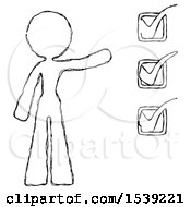 Sketch Design Mascot Woman Standing By A Checkmark List Arm Extended