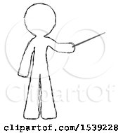 Sketch Design Mascot Man Teacher Or Conductor With Stick Or Baton Directing
