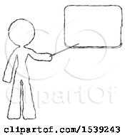 Sketch Design Mascot Woman Pointing At Dry Erase Board With Stick Giving Presentation