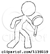 Sketch Design Mascot Woman Inspecting With Large Magnifying Glass Right