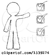 Sketch Design Mascot Man Standing By List Of Checkmarks
