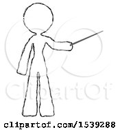 Sketch Design Mascot Woman Teacher Or Conductor With Stick Or Baton Directing