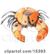 Orange Crab Robot With Open Pinchers Clipart Image Picture by Leo Blanchette